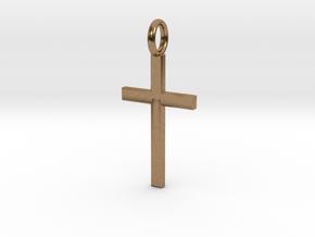 Crucifix - Pendant in Natural Brass: Small