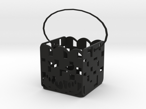 Square pumpkin basket in Black Natural Versatile Plastic