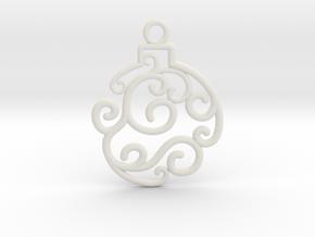 Holiday Swirl Ornament in White Natural Versatile Plastic