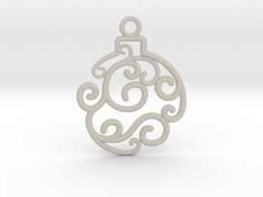 Holiday Swirl Ornament in Natural Sandstone