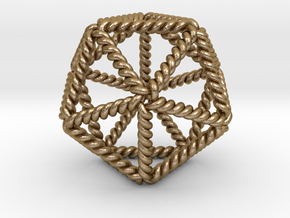 Twisted Icosahedron LH in Polished Gold Steel