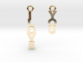 """I love you"" - Cute messages earings in 14K Yellow Gold"