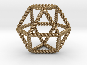 "Twisted Cuboctahedron RH 2"" in Polished Gold Steel"