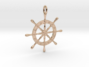 Boat Steering Wheel in 14k Rose Gold Plated Brass
