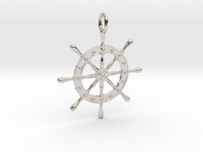 Boat Steering Wheel in Rhodium Plated Brass
