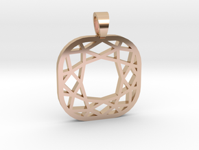 Cushion cut [pendant] in 14k Rose Gold Plated Brass