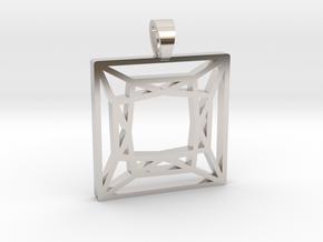 Princess cut [pendant] in Rhodium Plated Brass