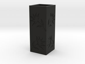 Engraved Flower Vase - Black in Black Natural Versatile Plastic