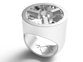 crystal genesys signet ring in Polished Nickel Steel: 7 / 54