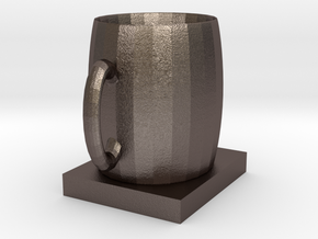 Coaster cup in Polished Bronzed Silver Steel