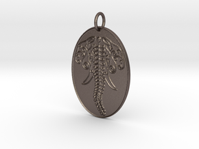 Elephant Veve Pendant in Polished Bronzed Silver Steel