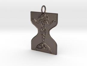 Mermaid Veve Pendant in Polished Bronzed Silver Steel
