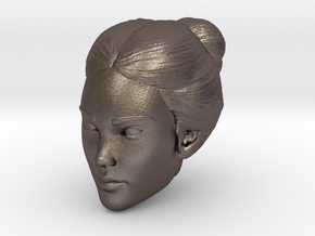 Female head in Polished Bronzed Silver Steel