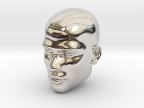 Male head in Rhodium Plated Brass