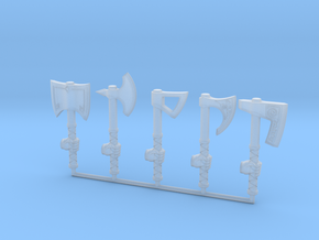 Miniature Axe Collection (left hand) in Smooth Fine Detail Plastic