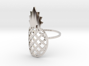 Ananas ring in Rhodium Plated Brass