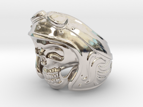 Skull Motorcycle Helmet in Platinum