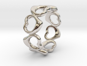Happy hearts ring band, Size 6.5 in Platinum