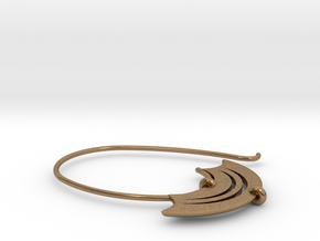 Large open hoop with blade shaped detail (SWH4a) in Natural Brass