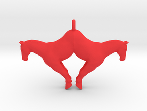 double horse pendant big in Red Processed Versatile Plastic