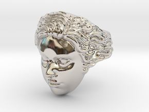 Woman Head Ring  in Platinum