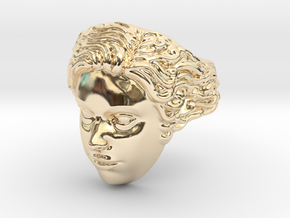 Woman Head Ring  in 14k Gold Plated Brass
