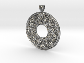 Victorian Pendant with scalloped bail (flat back) in Natural Silver