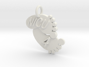 NICU 4 Keychain in White Natural Versatile Plastic