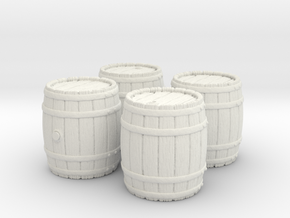 Wooden Barrel, x4, 28mm Scale in White Strong & Flexible