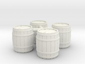 Open Wooden Barrel, x4, 28mm Scale in White Strong & Flexible