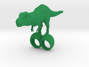 giant silly t-rex double ring SIZE 9 in Green Processed Versatile Plastic