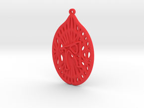Personalised Voronoi Catenoid Curve Earring (001c) in Red Processed Versatile Plastic