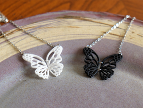Butterfly pendant in White Processed Versatile Plastic