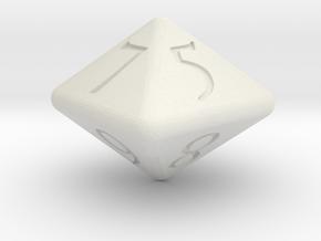 D8 D&D Dice in White Natural Versatile Plastic
