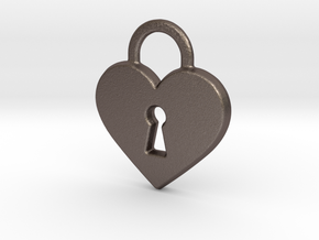 Locked Heart Pendant in Polished Bronzed Silver Steel