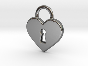 Locked Heart Pendant in Polished Silver