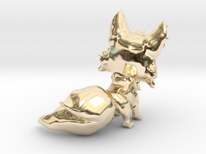 Chibi Fox in 14k Gold Plated Brass: Extra Small