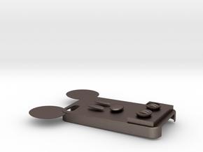 米奇手機殼.stl in Polished Bronzed Silver Steel: Medium