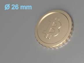 Bitcoin, 26 mm diameter in 14k Rose Gold Plated Brass
