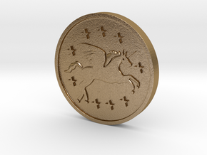 The Unicorn Coin in Polished Gold Steel