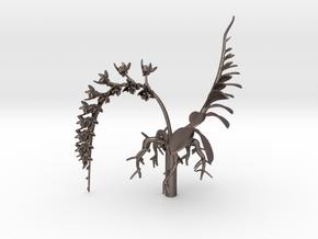 Imperial Moth Orchid for 10cm Maneki Neko Planter in Polished Bronzed Silver Steel