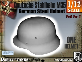 1/12 German Stahlhelm M35 in White Natural Versatile Plastic