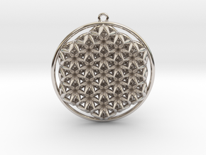 Super Flower Of Life Dual Sided Small Pendant in Platinum