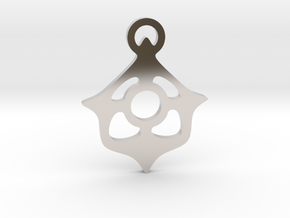 """Four ways to the center"" Pendant  in Rhodium Plated Brass"