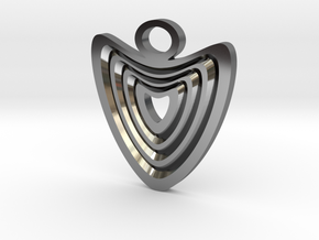 Heart with grooves Pendant in Fine Detail Polished Silver