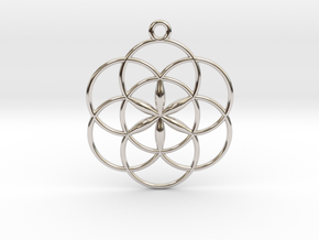 "Seed of Life Pendant 1"" in Rhodium Plated Brass"