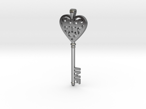 heartkey-new in Fine Detail Polished Silver