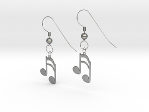 Music note earrings version 1 in Natural Silver (Interlocking Parts)