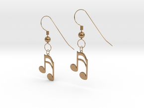 Music note earrings version 1 in Polished Brass (Interlocking Parts)