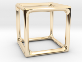 Simply Shapes Pendants Cube in 14k Gold Plated Brass